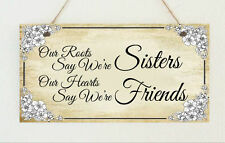 Beautiful Hand Made Plaque Hearts Say Were Friends Sisters Roots Sign Present