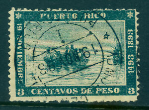 PUERTO RICO 1893 COLUMBUS landing 400th Anniversary 3c green Scott # 133 used