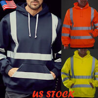 New Men's Reflective Striped Pullover Hoodie Swearshirt Warm Casual Pocket Tops