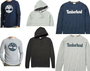 Timberland Men's Waffle Shirt Pull Over Tree Logo Black Gray Navy Blue Hoodie