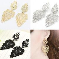 Women Silver Alloy Pierced Long Dangle Drop Earrings Bohemian Boho Jewelry Gift