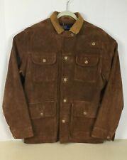 Polo Ralph Lauren Men Sz L Lined Ranch Leather Suede Jacket Work Barn Field Coat