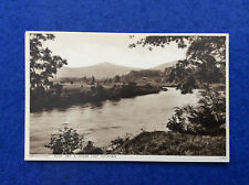 Sepia postcard: Monmouthshire, Abergavenny, River Usk, Sugar Loaf Mountain