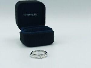 Tiffany & Co T Narrow Pave Diamond Ring Band 18k White Gold Size 7