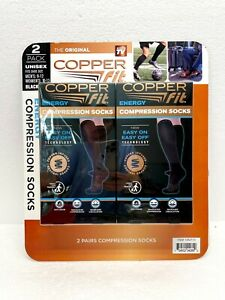 2 Pair Copper Fit Unisex Easy On Easy Off Energy Compression Socks M9-12/W10-13