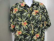Seven Palm Hawaiian Style Shirt, S/S, Black with Flowers, Large, 100% Silk