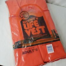 Vintage Kent Life Vest USCG Approved Buoyant Type II PDF Adult 90 Lbs+ Orange