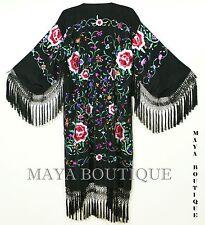 Embroidered Silk Fringe Jacket Flamenco Kimono BLACK & MULTI Maya Matazaro
