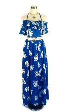 Vintage Maxi Cotton Dress - Hippy Floral Heart - Blue White Ruffle Tie - 10/12/M