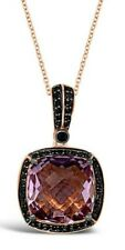 Le Vian ® Colgante-Rosa Amatista ® diamantes negros-Oro Rosa 14K