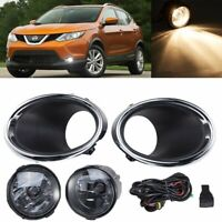 Pair Fog Lights Lamp+Switch+Harness+Cover x Kit For Nissan Rogue Sport 2017-2019