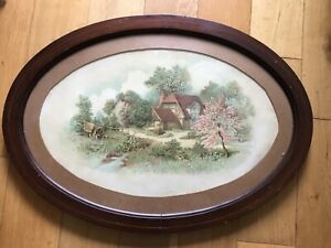 Vintage 1930/40s Large Chocolate Box Print Of Flints Farm House Near Tring