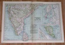 1911 Original Antique Map Of Southern India Madras Mumbai Sri Lanka / Singapore