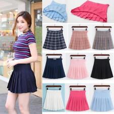 Women Lady Tennis High Waist Pleated Plain Mini Skirt School Girl Skater Short B