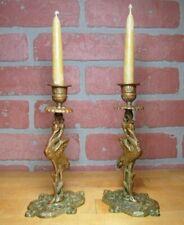 Antique Bronze Crane Stork Candlesticks Figural Decorative Arts Candle Holders