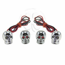 Skull LED License Plate Bolts & Valve Cap Red Motorcycle Car Tag Lid Cover