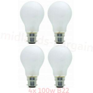 4x 100w Watt Bayonet Light Bulbs B22 Cap Fit Standard Frosted GLS Pearl Bulbs