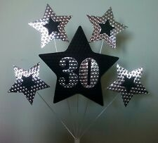 30th BIRTHDAY or ANNIVERSARY CAKE TOPPER. STARS, Silver and Black.