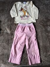 PAMPOLINA Pantalon Rose + Tee-shirt ML Bambi DISNEY 🦊 Taille 2 Ans Taille 86