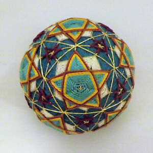 Japanese Temari Ball  Handmade by me with love -Teal majestic in a star teal sky
