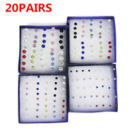 20 Pairs 4 Sizes Crystal Cute Ear Stud Earrings Women Jewelry Christmas Gift HOT