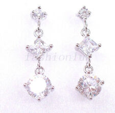 fashion1uk GirlLady Clear Simulated Diamond White Gold Plated Dangle Earring