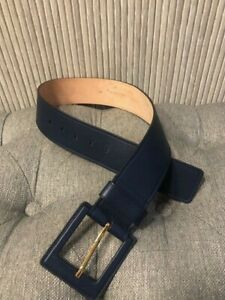 Authentic MICHAEL KORS COLLECTION Navy Blue Leather Belt Size XS