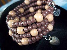Wood BEAD Coil Wrap HEART CHARM Bangle Bracelet (W-23) by Quality Jewelry