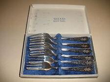 Vintage Thailand  Sterling Silver ALFX CO enamel Buddha 6 forks set  with box