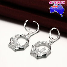 Classic 925 Sterling Silver Filled Zircon Crystal Octagon Leverback Earrings