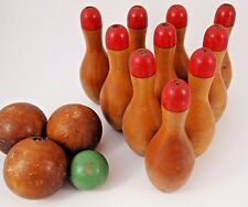 """SKITTLE Lawn Bowling Game Ten Wood Turned Pins Balls Tabletop RED 6 1/4"""""""