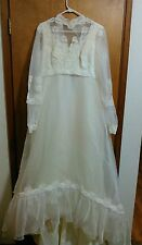 Union Made Vintage Lace Applique Long Sleeve Victorian Wedding Dress Size 18