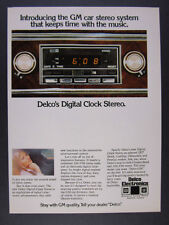 1976 GM Delco Digital Clock Stereo 'Introducing' car radio vintage print Ad