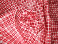 """ONE new remnant glazed cotton fabric sm checkered print white red pink 6Y X 54"""""""