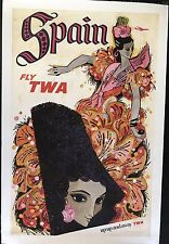 FLY TWA Spain by David piccoli original vintage TRAVEL poster 1968