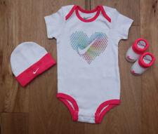 Nike Baby Girl 3 Piece Hat, Bodysuit & Booties Set ~ White & Neon Pink ~ 0-6M
