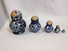 *Vintage* Nesting Russian Dolls Hand Made Matryoshka Painted Wood Set-Free S&H