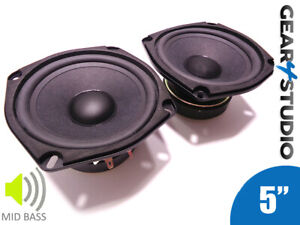 """2x HI-FI Replacement Mid/Bass Speaker Cones 5"""" 134mm 80W 8 Ohm Coated - 1 Pair"""