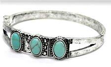Burnished Silver 3 Genuine Howlite Oval Stone Turquoise Cuff Bangle Bracelet