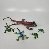 Lizard Figures & Frog Lot Wild Life Reptiles Animals Plastic PVC Desert Collared