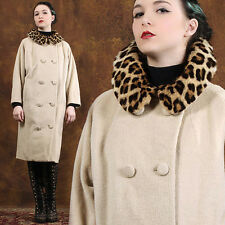 REAL Vintage 60s Pin Up Rockabilly Wool Coat Leopard Spot Fur Swing Mod 50s L/XL