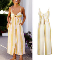 Womens V Neck Jumpsuit Strappy Playsuit Wide Leg Loose Long Pants Romper Party