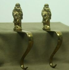 Vintage Brass Pair Santa Claus Christmas Stocking Holder Hook Holiday Mantel