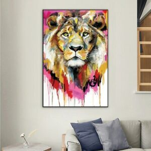 Animals Watercolor Oil Painting Abstract Lion Scandinavian Canvas Wall Posters