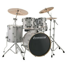 Ludwig LCEE22028 Evolution Drum Kit w/Hardware, Silver / White Sparkle