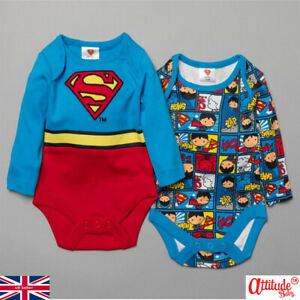 Baby Superman 2 Pack Baby Grows-Official Baby Superman 2 Pack Baby Bodysuits