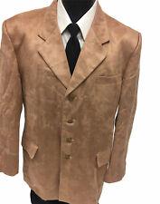 Men Brown 4 Btn Sport Coat FEATHER Ultra SUEDE Jacket Dinner Evening Blazer 44 L
