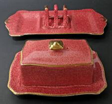 VTG ROYAL WINTON GRIMWADES BUTTER DISH TOAST RACK & TRAY MOTTLED PINK GOLD 1940s
