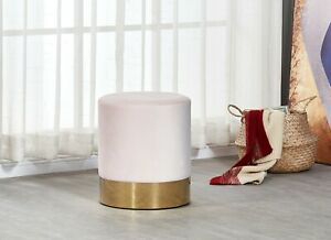 Dolce Light Pink Velour Velvet Ottoman Footstool with Chrome Surround Stool Seat