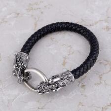 Unisex Knot Viking Bracelet Black Hammer Rune Beads Men Gift Silver Amulet Chain